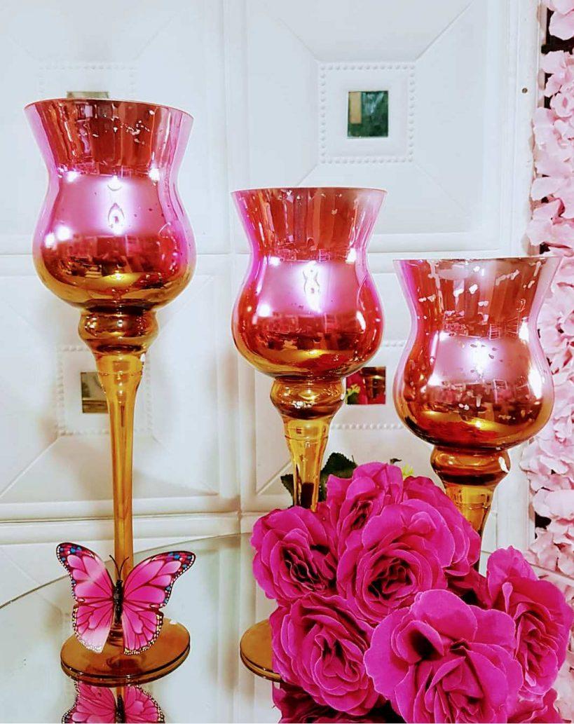 Pink Champagne Vases for Rent
